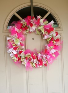 Valentine rag wreath