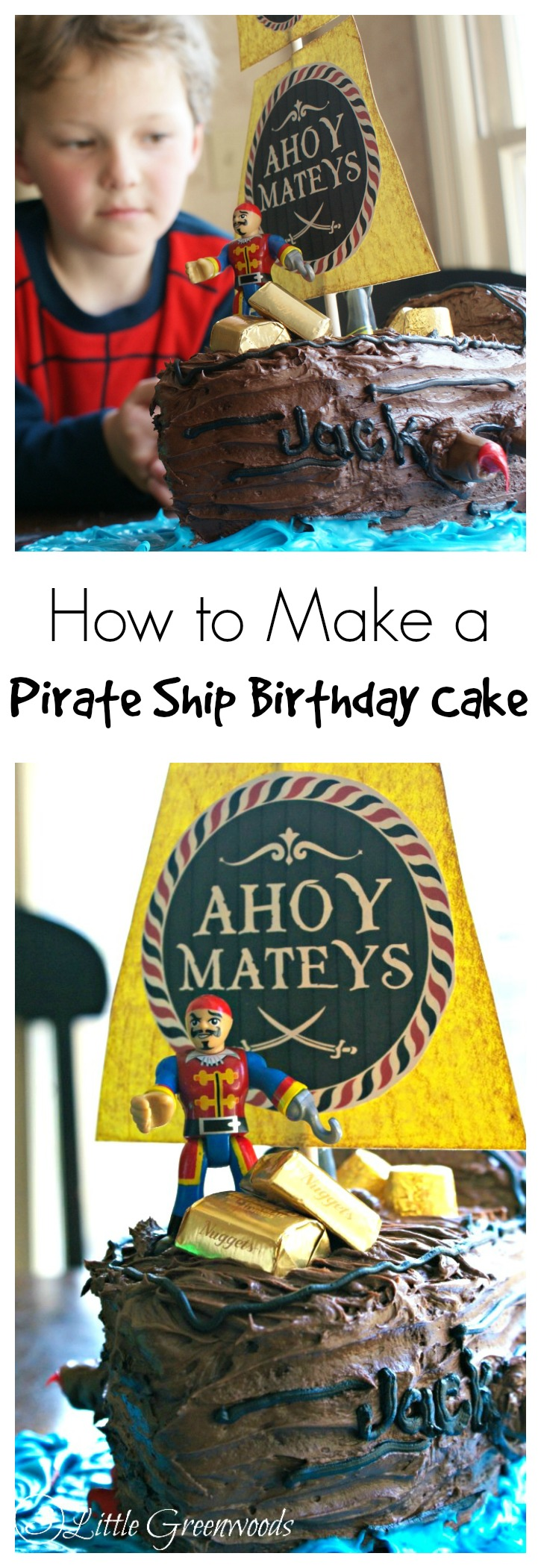 MUST PIN tutorial for How to Make a Pirate Ship Birthday Cake! A fabulously, simple tutorial telling you exactly how to make a pirate ship cake for a pirate birthday party!