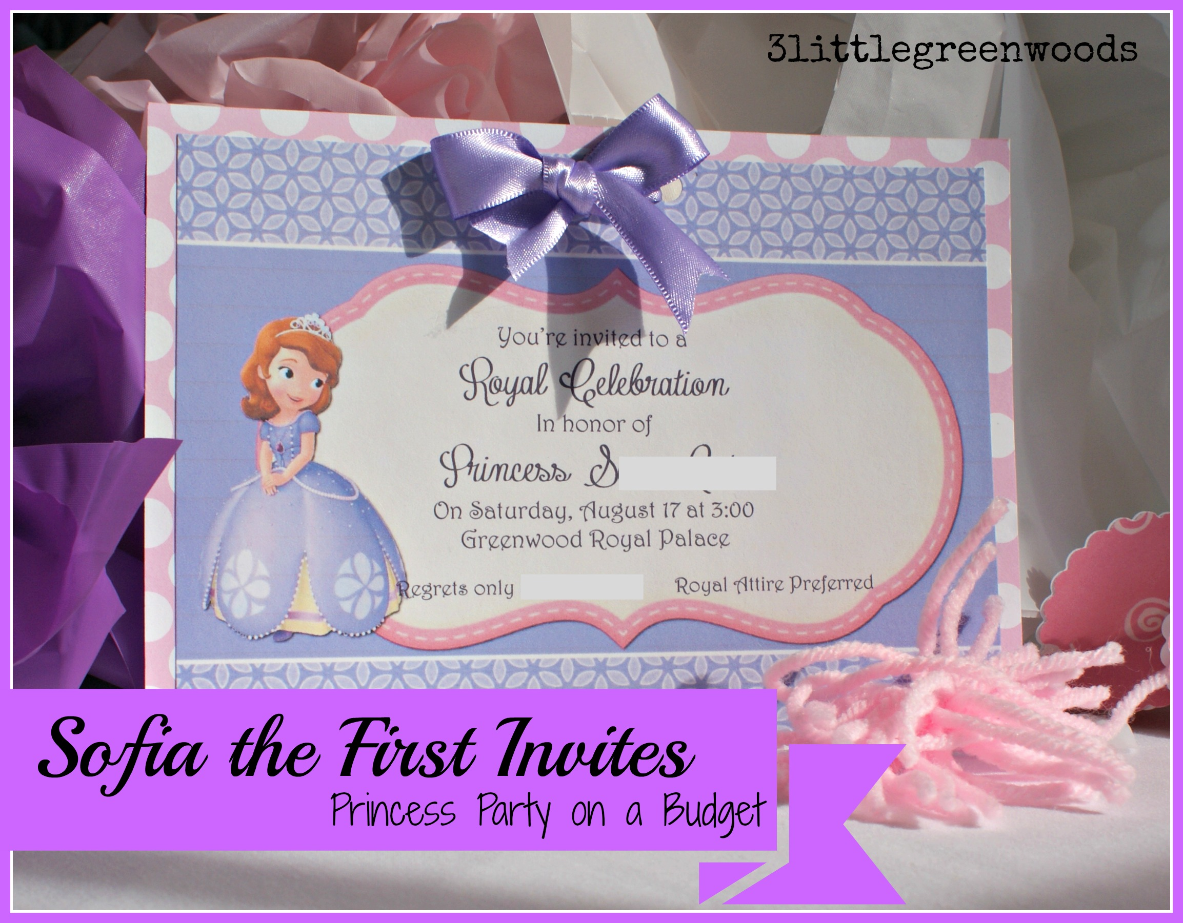 The First Birthday Invites - Sofia the first party invitation template