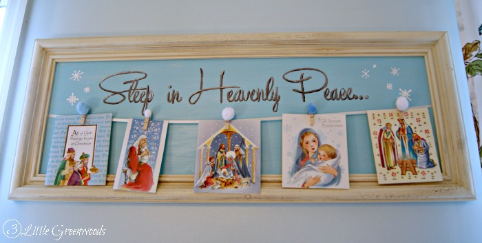 DIY Christmas Card Display ~ handpainted tutorial http://www.3littlegreenwoods.com