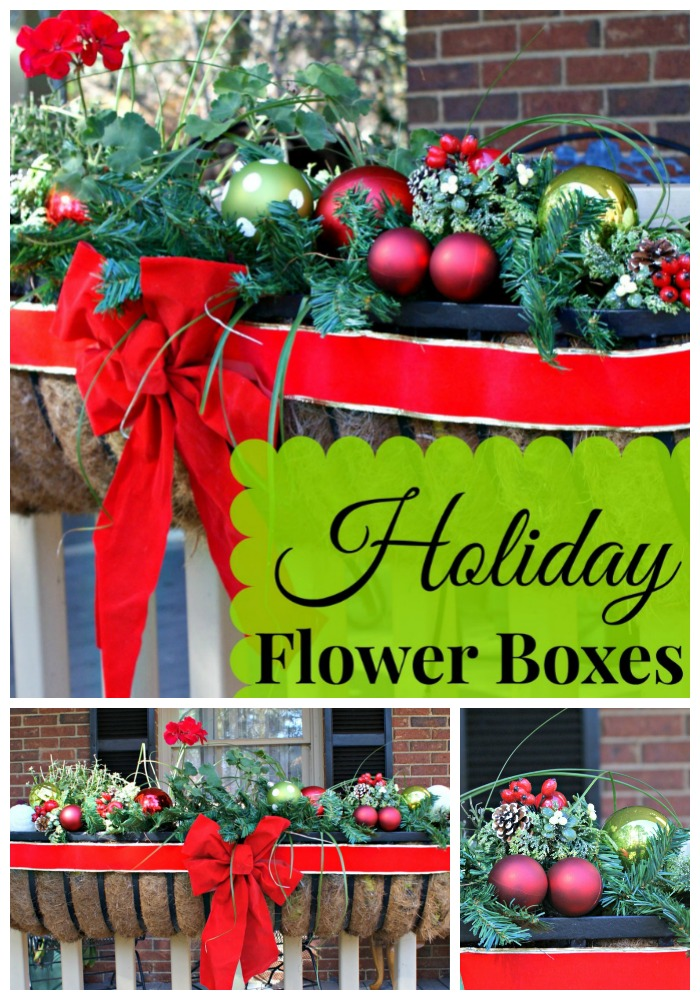 LOVE these Christmas Front Porch flower boxes