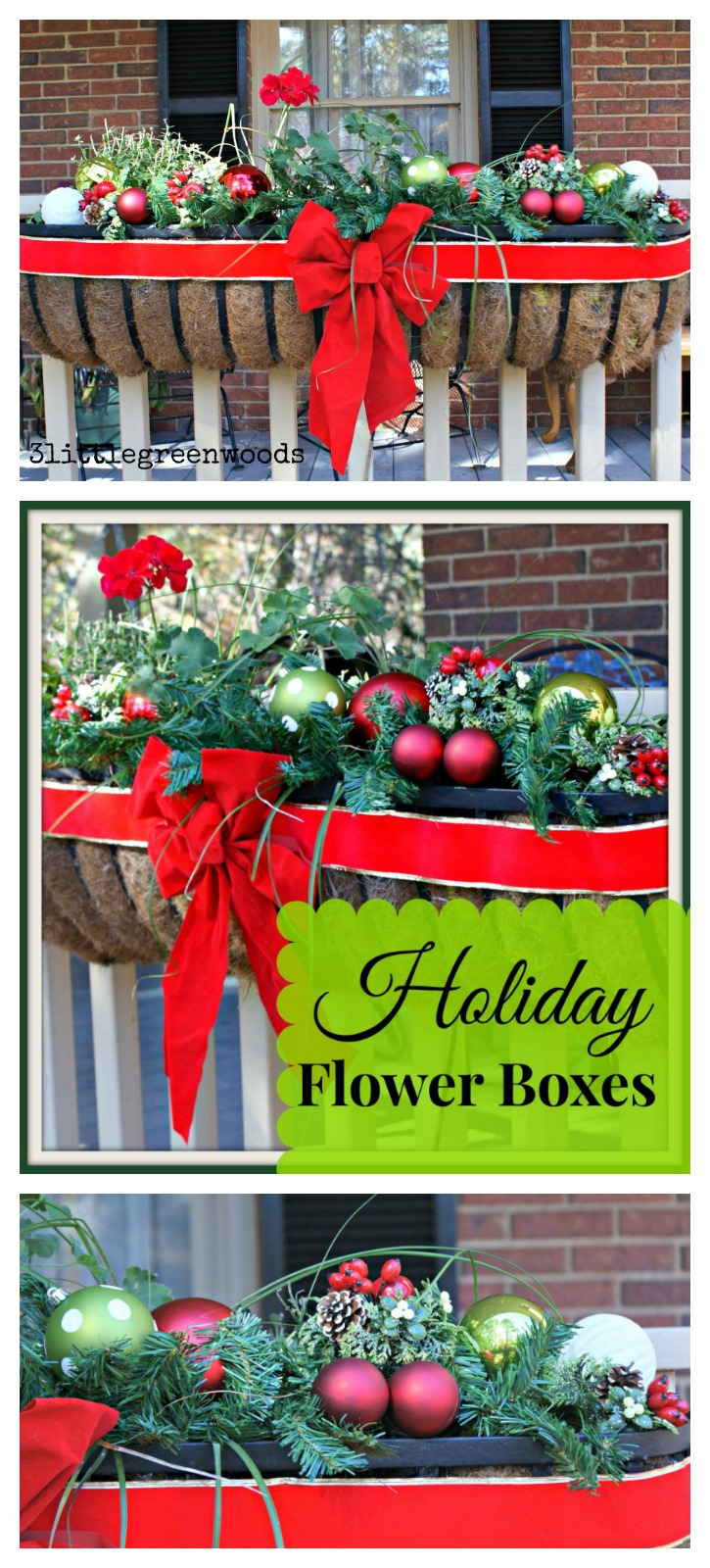 i love these flower boxes on this christmas front porch awesome outdoor decorations