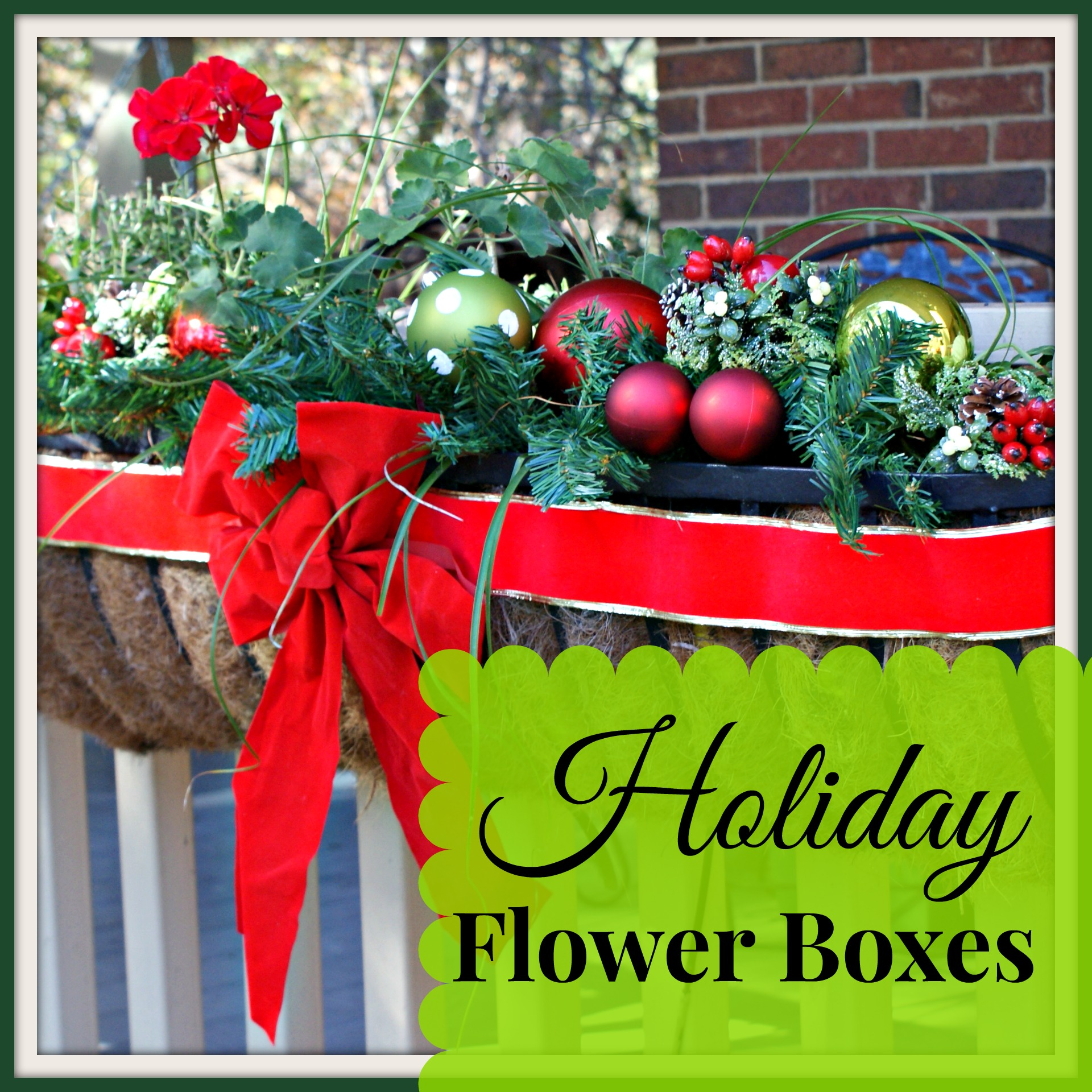 Christmas Decorations 2013: Cheery Christmas Flower Boxes For Outdoor Christmas Decorating