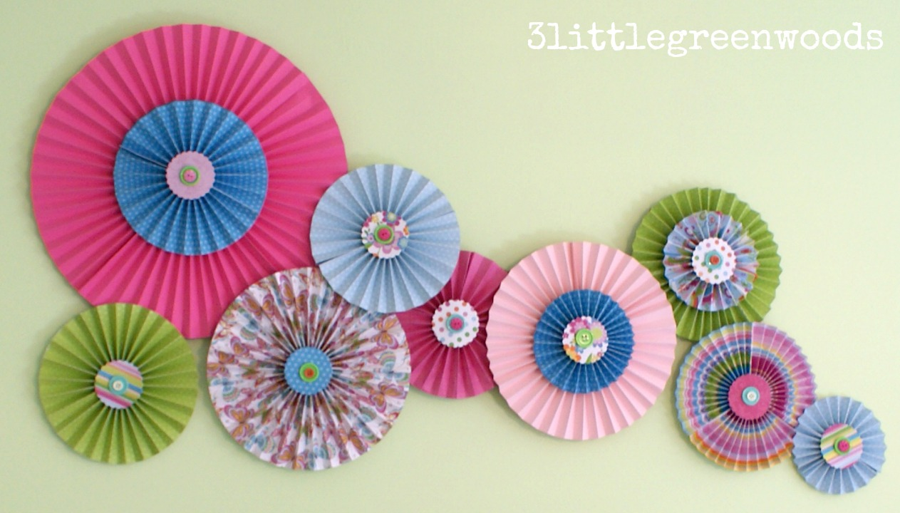 Paper Pinwheels Wall Art On A Budget 3 Little Greenwoods