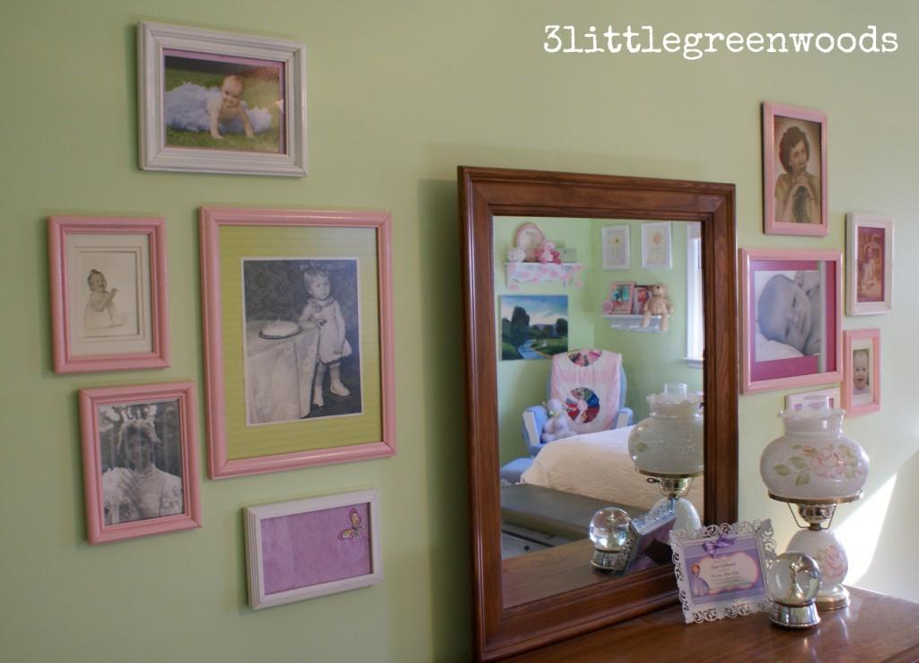 family photographs in girls room