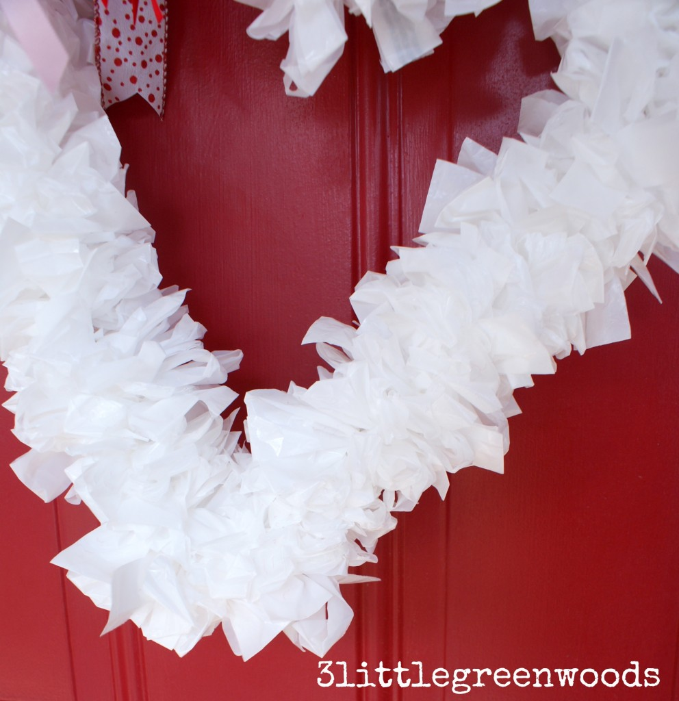 MUST Pin tutorial for making a Super Cute Valentine Wreath! You can make this Valentine Decor with household supplies for less than $2.00! // 3 Little Greenwoods