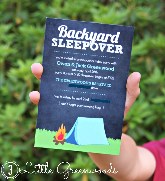 Campout Birthday Party Invitations by 3 Little Greenwoods
