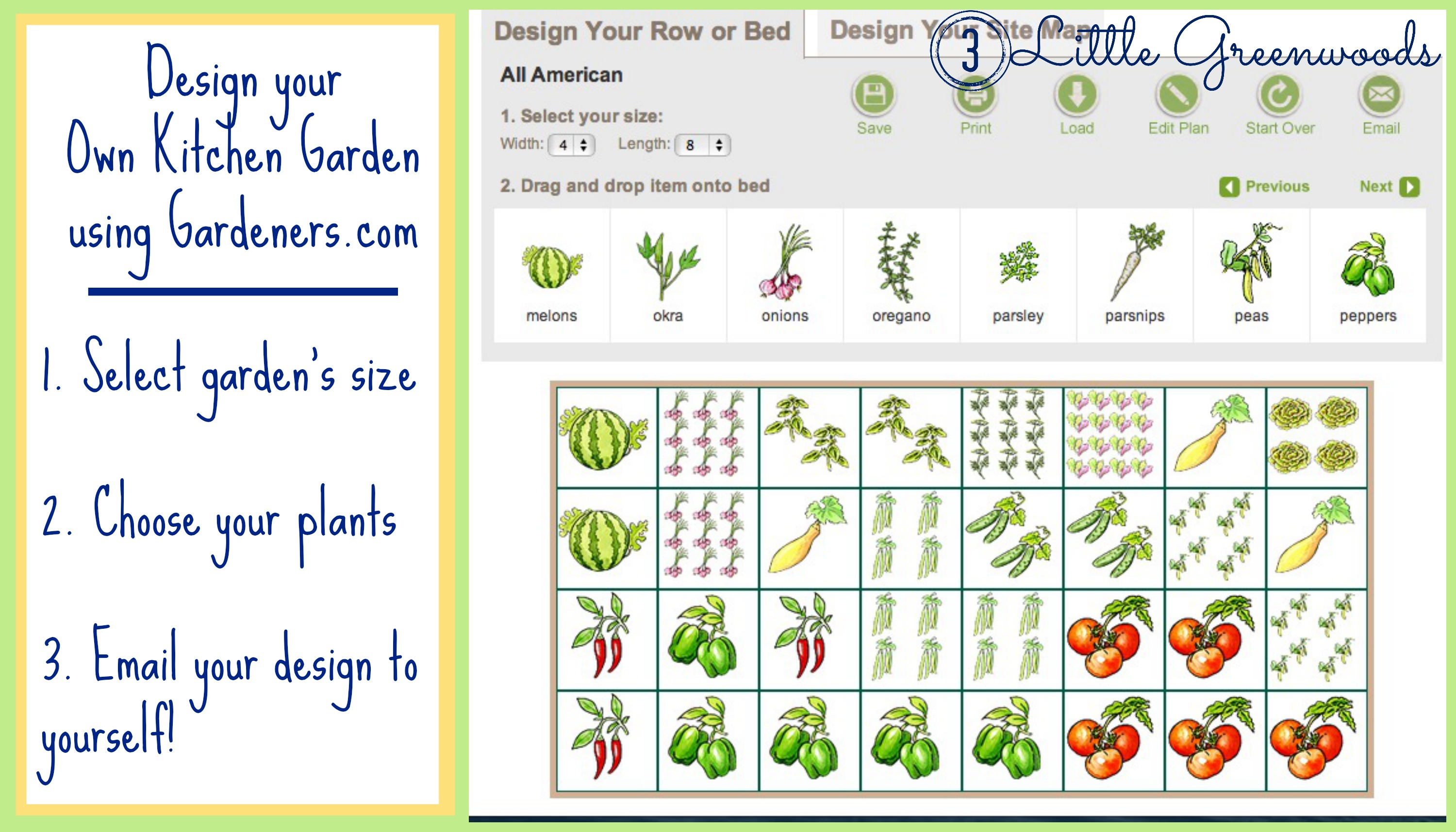 Diy container garden planning and planting for Garden layout planner free