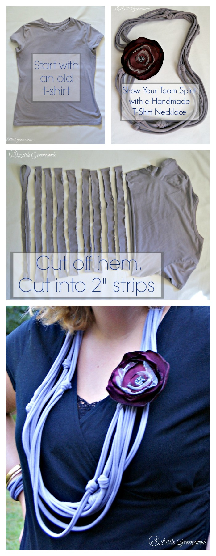 Simple craft idea for creating an Upcycled T-Shirt Necklace. Easy to follow t-shirt necklace tutorial!
