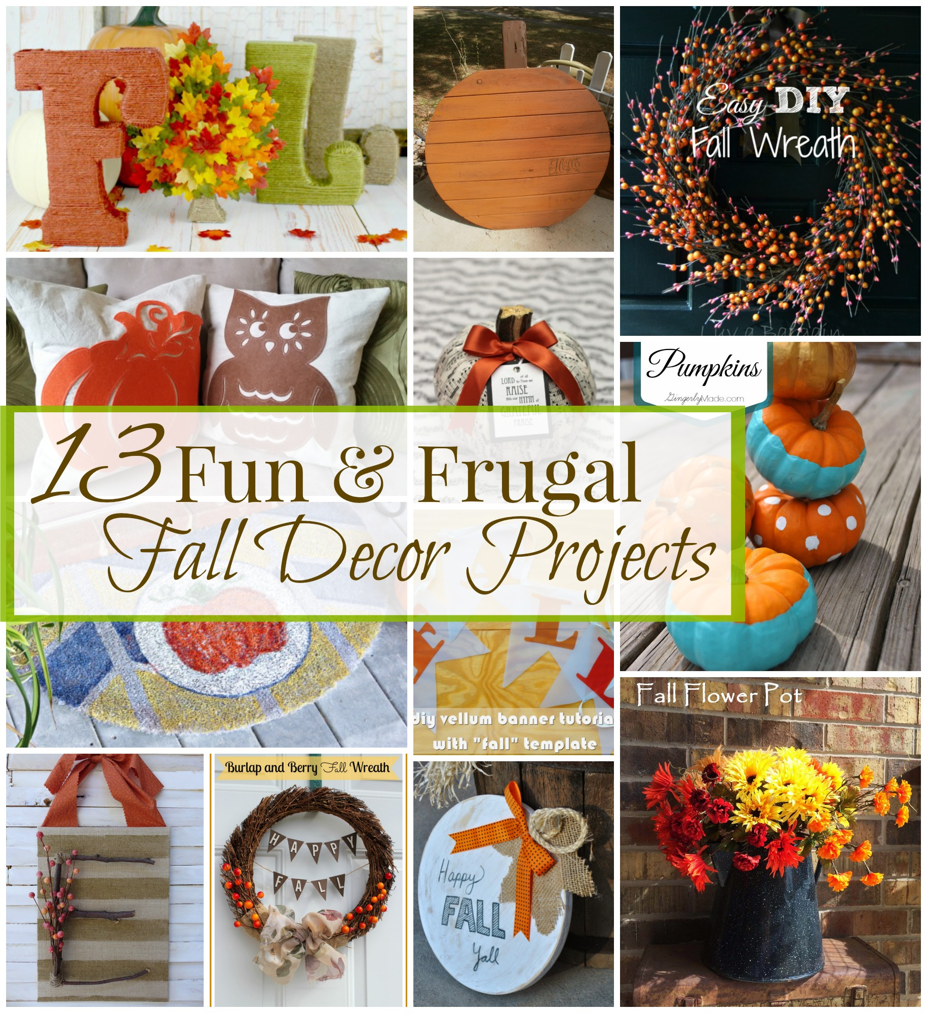 13 fun and frugal fall projects by 3 Little Greenwoods