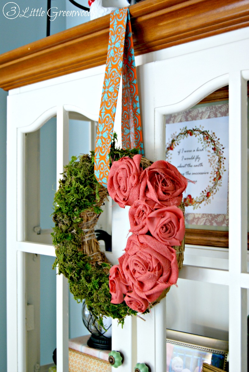 Fall Fabric Rose Wreath