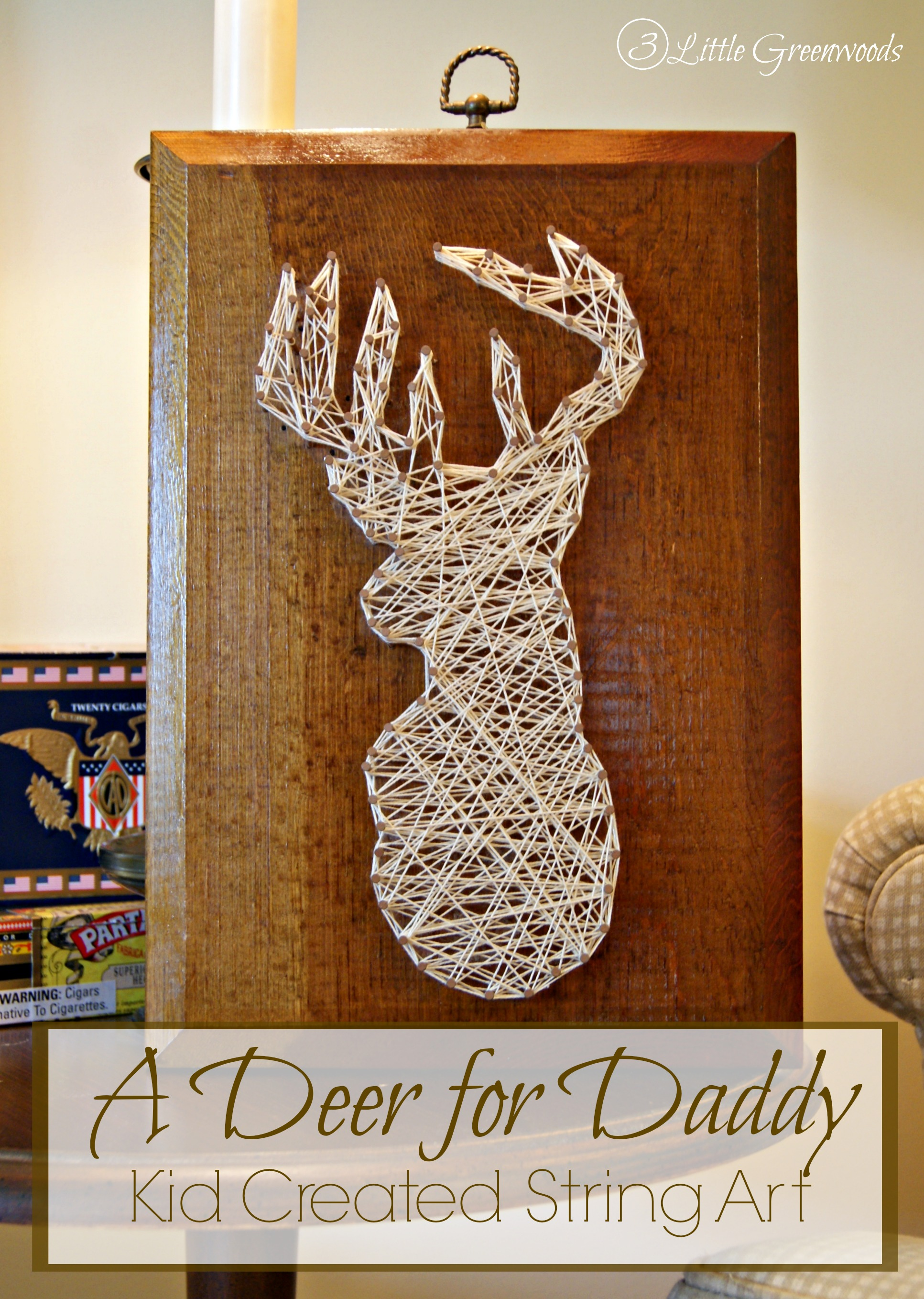 A Deer for Daddy ~ Kid Created String Art by 3 Little Greenwoods