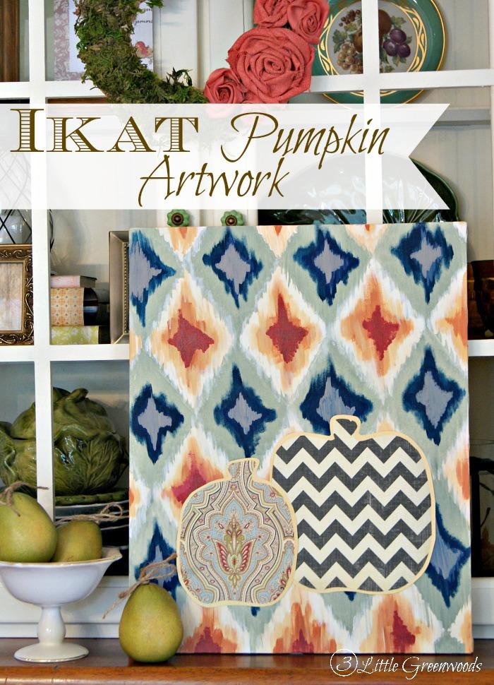 Ikat Pumpkin Artwork by 3 Little Greenwoods