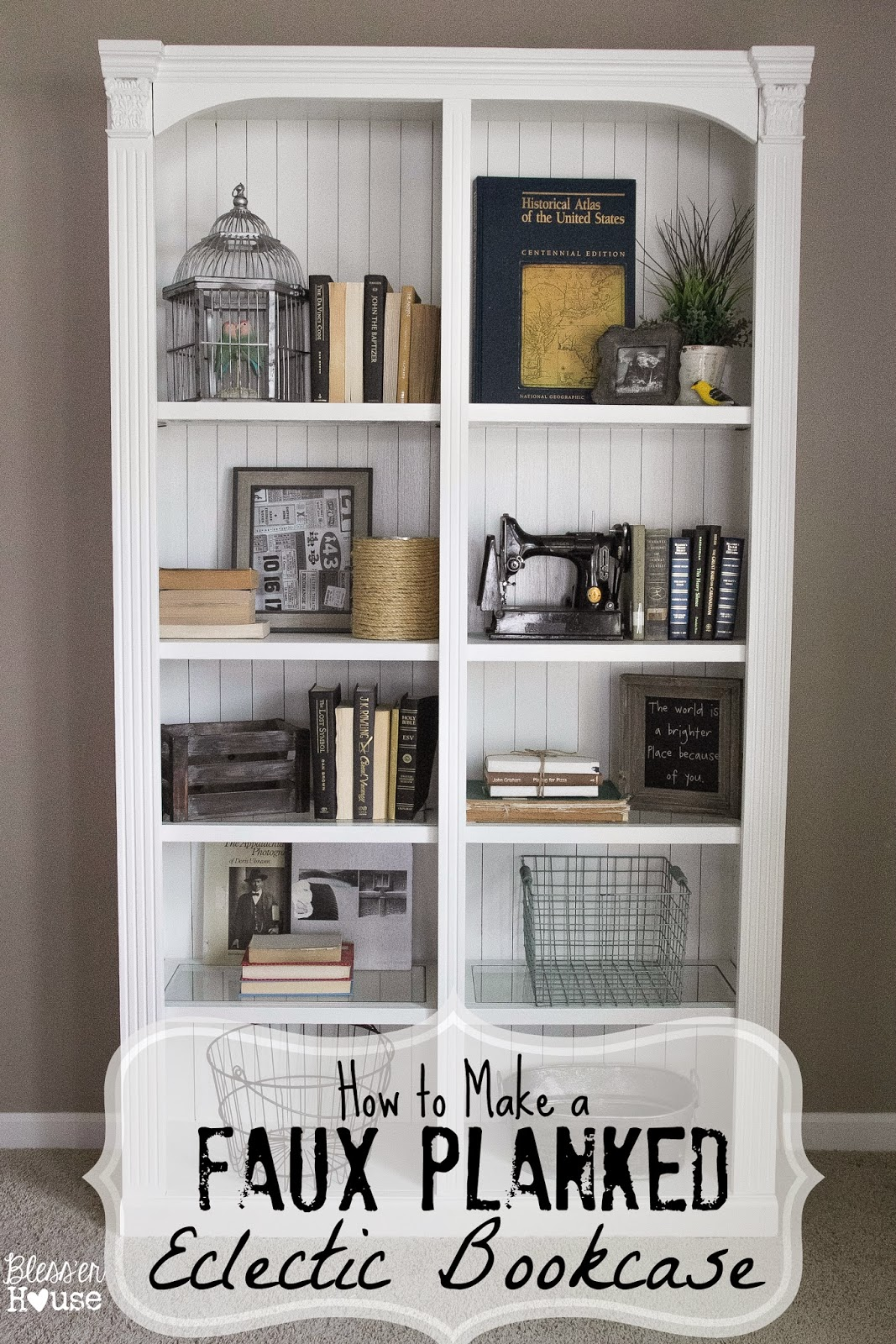 faux-planked-eclectic-bookcase