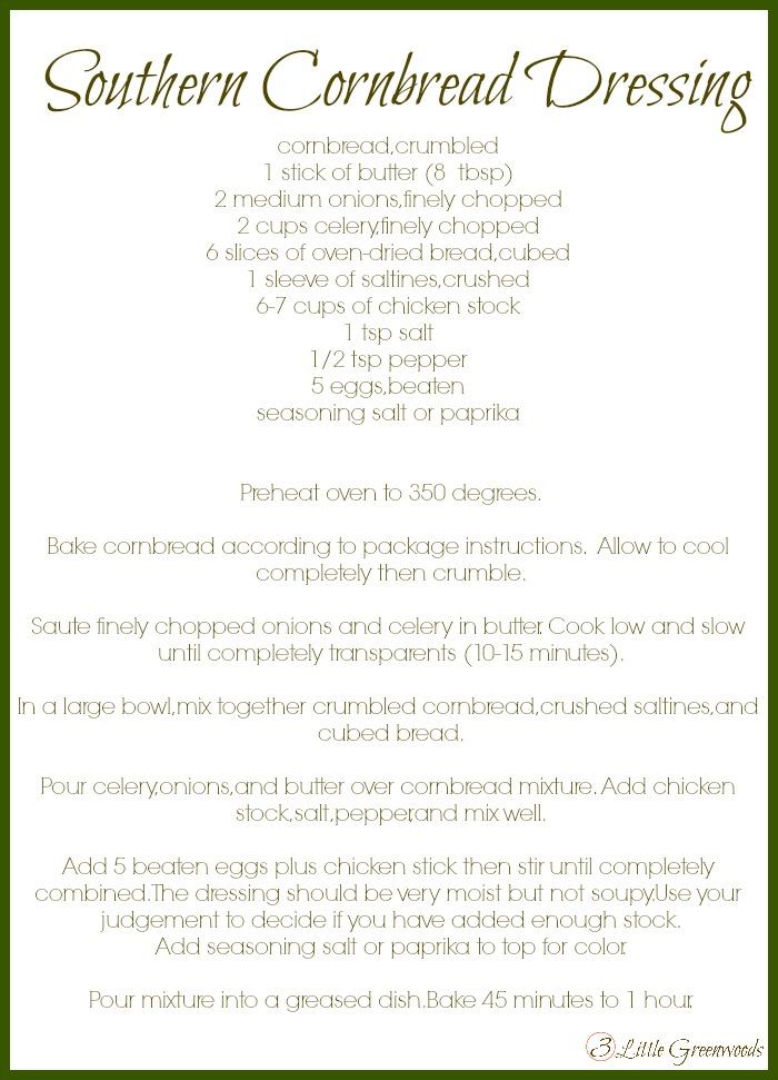 Traditional Southern Cornbread Dressing Recipe http://www.3littlegreenwoods.com