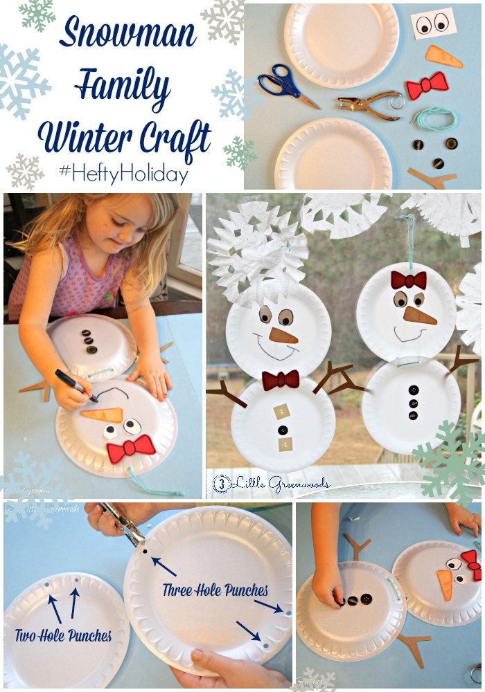 Banish the Cold Weather Blues and Build a Snowman Family ~ A Winter Craft with Hefty (easy kid craft) http://www.3littlegreenwoods.com