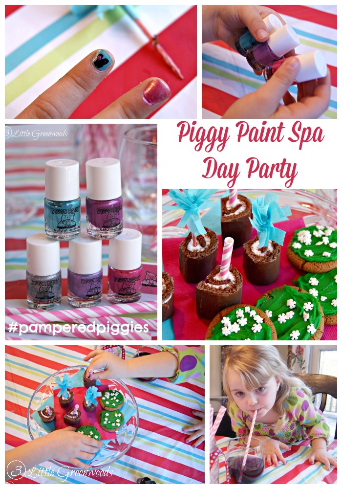 Have a Piggy Paint Spa Day Party with your favorite little girls! #pamperedpiggies http://www.3littlegreenwoods.com