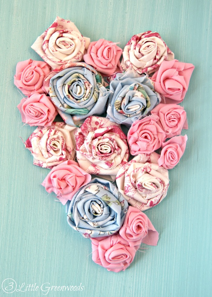 Show a Little Love: Rolled Fabric Flowers Valentine's Day Art http://www.3littlegreenwoods.com