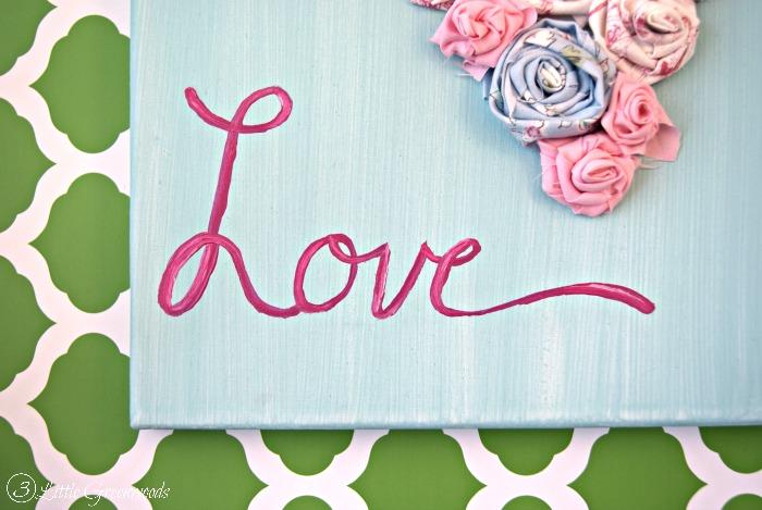 Show a Little Love: Rolled Fabric Flowers Valentine's Day Art http://www.3littlegreenwoods.com