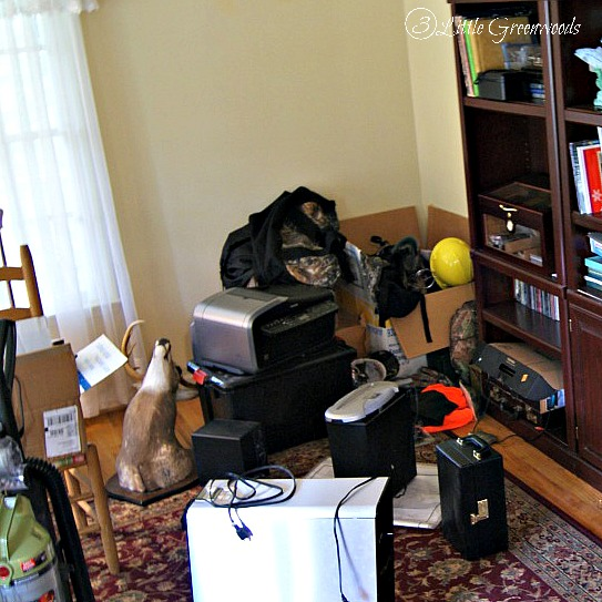 The Most Confused Room in Our Home: The beginnings of a Home Office Makeover http://www.3littlegreenwoods.com