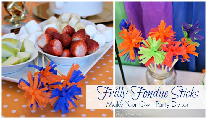 DIY Frilly Fondue Sticks ~ Simple Party Decor & Perfect for Your Next Party! http://www.3littlegreenwoods.com