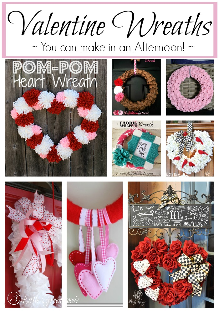 Awesome Roundup of DIY Valentine Wreath Ideas You Can Make in an Afternoon! http://www.3littlegreenwoods.com