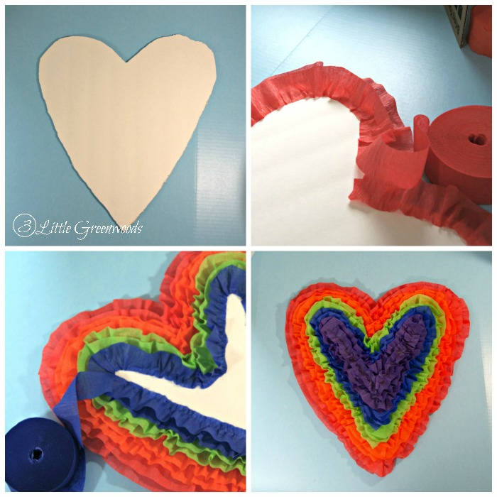Super FUN Valentine Door Decoration ~ A Heart Shaped Door Hanger that's perfect for Valentine's Day decor or a fun Kids Art Party! // 3 Little Greenwoods