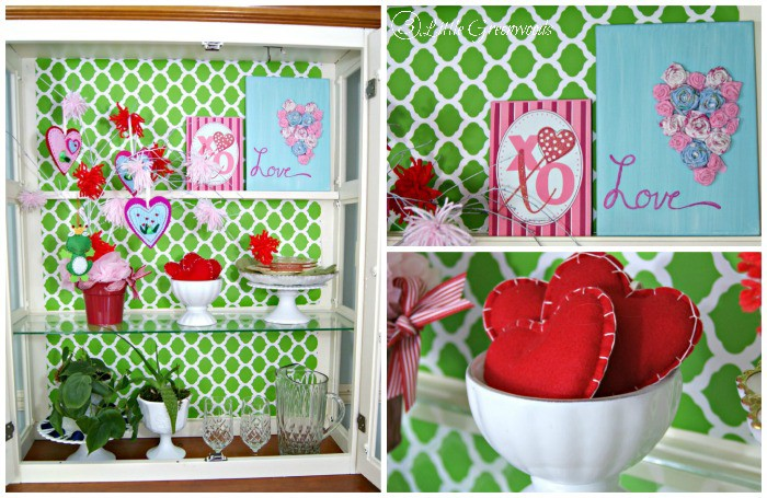 Tips and DIY Home Decor Projects for Styling a Kitchen Hutch for Valentine's Day http://www.3littlegreenwoods.com