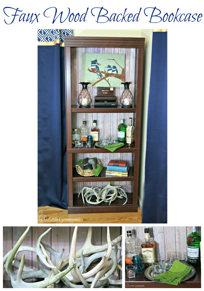"Look of real wood but the ease of paper! Faux ""Vintage Wood"" Backed Bookcase {Easy DIY Decor} http://www.3littlegreenwoods.com"