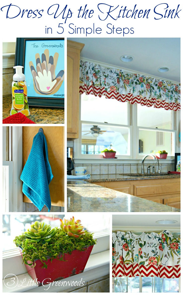 Easy Steps to Dress Up Your Kitchen Sink by 3 Little Greenwoods #KitchenUpdate #KitchenDecor #NoSewCurtains