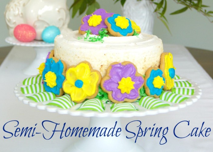 AMAZINGLY simple tutorial for decorating a Semi-Homemade Spring Cake! #Easter #SemiHomemade