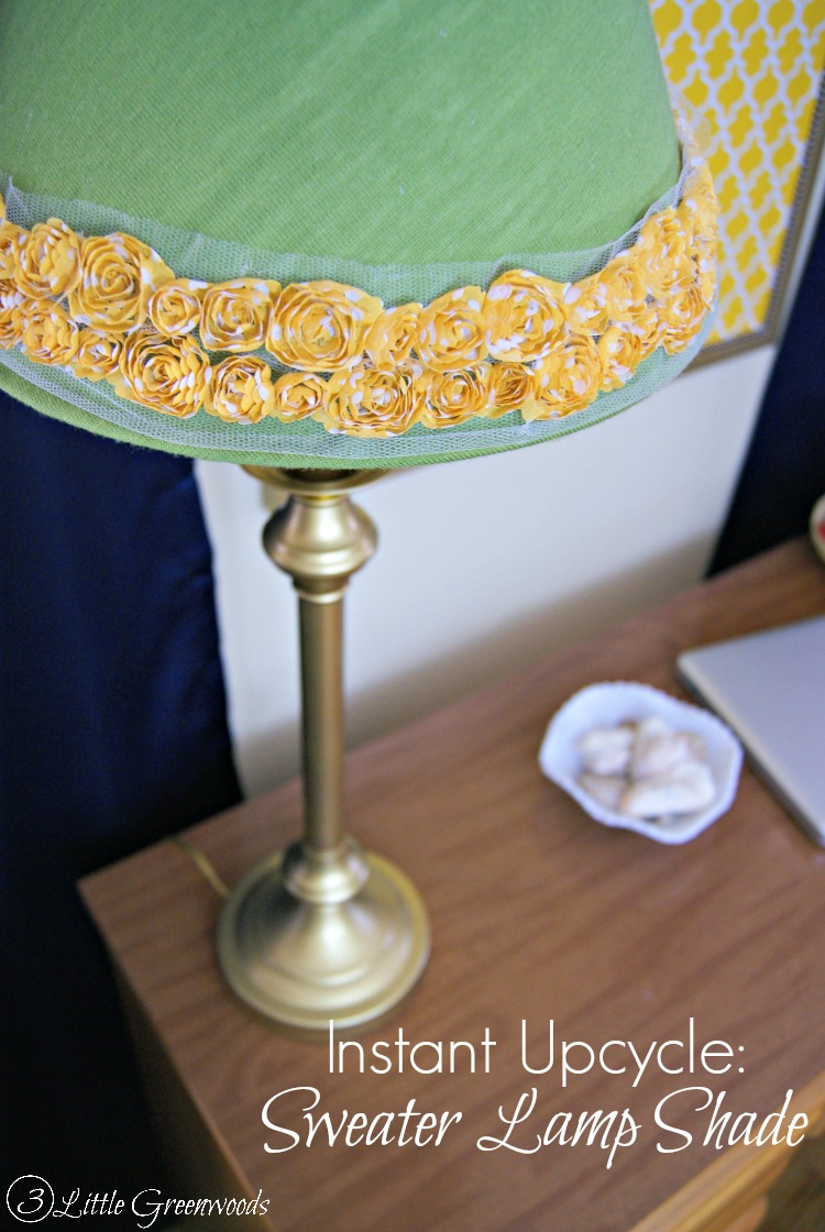 Diy lamp shade with a sweater 3 little greenwoods instant lamp shade update you wont believe what thrift store item was used aloadofball Images