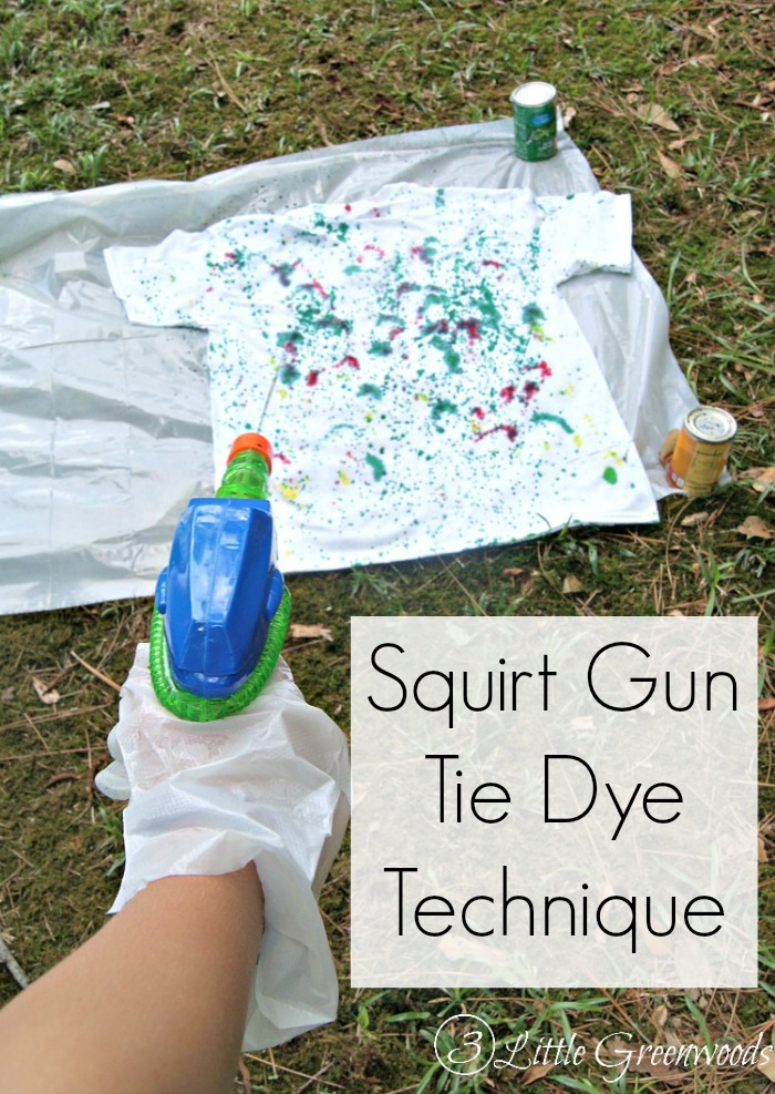 SO MUCH FUN! Use Water Guns to DIY Tie Dye Shirts. Click to see all the mess free tips!