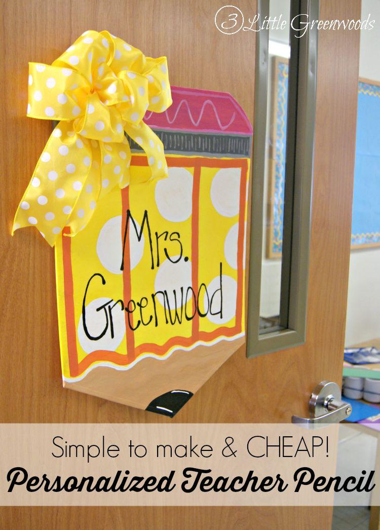 Super CUTE And CHEAP To Make DIY Door Hanger ~ Personalized Teacheru0027s  Pencil! Step