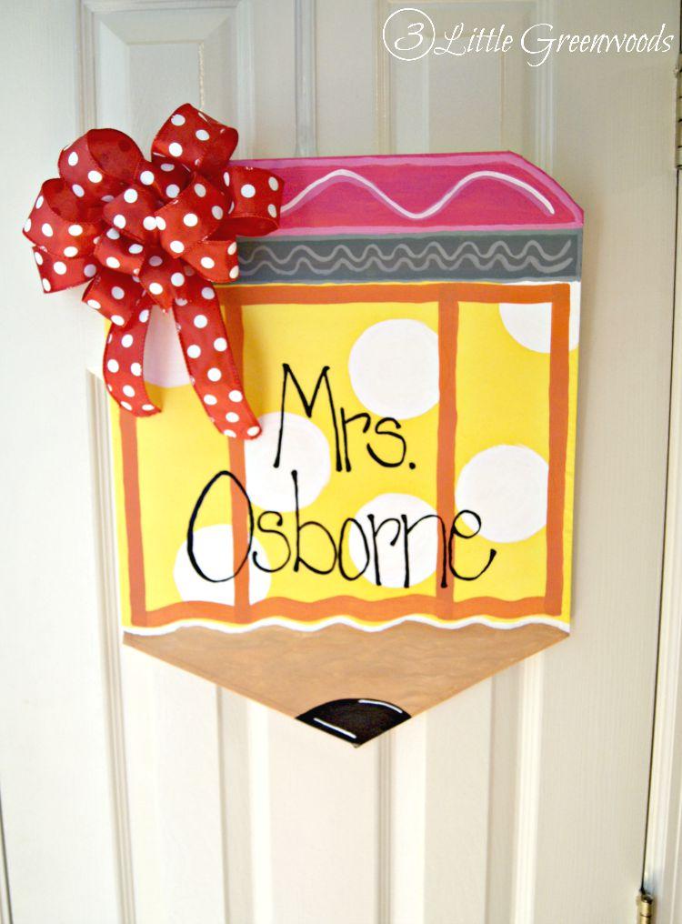 Super CUTE and CHEAP to make DIY Door Hanger ~ Personalized Teacher\u0027s Pencil! Step-  sc 1 st  3 Little Greenwoods & Personalized Teacher Pencil Door Hanger
