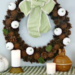 White Pumpkin Pinecone Wreath