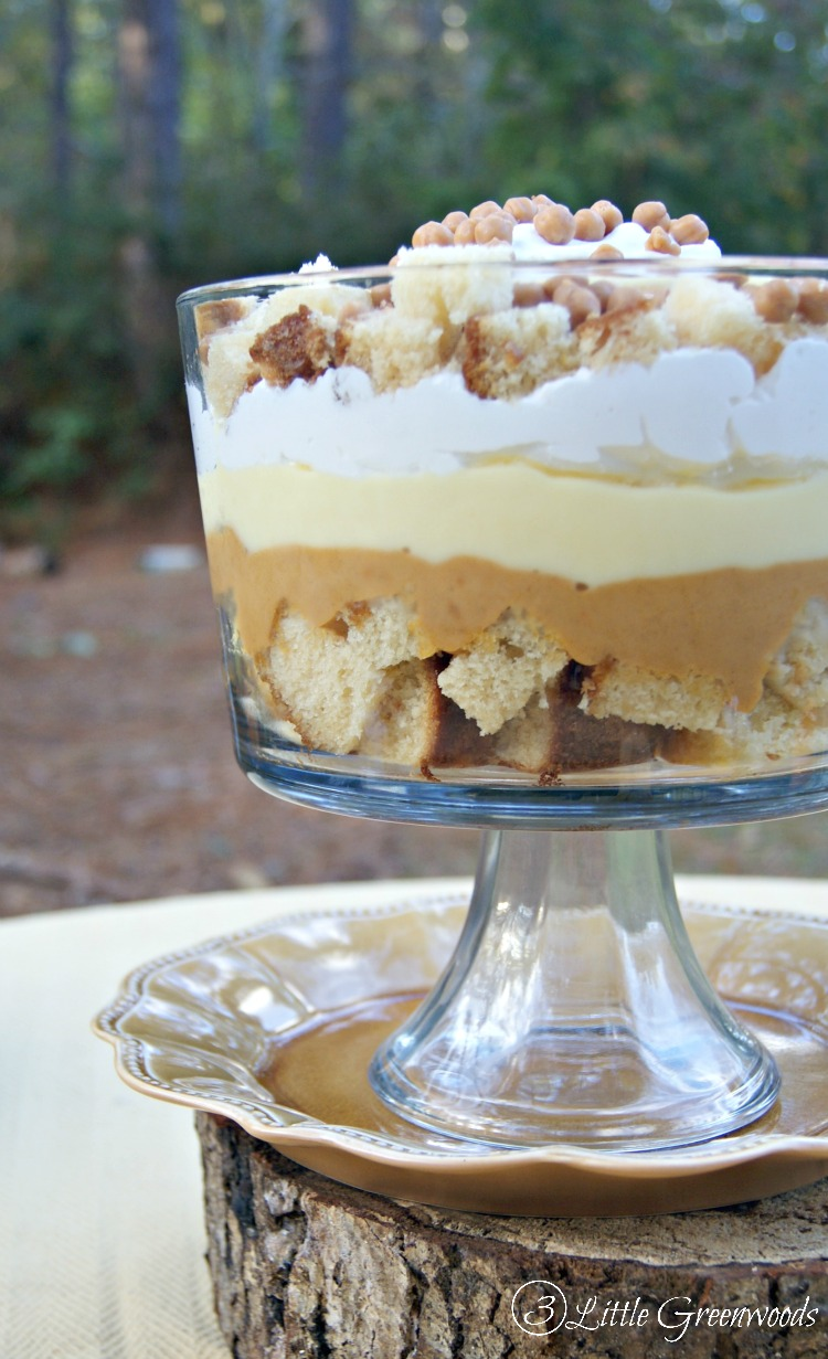 WOW your guests with this yummy Pumpkin Pie Trifle! It's an easy Thanksgiving dessert made in less than 30 minutes! // 3 Little Greenwoods