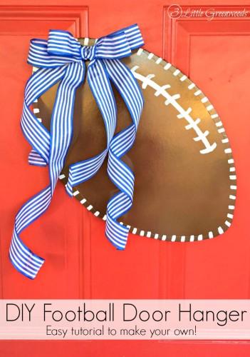 Cheer your favorite Team with a custom made DIY Door Hanger! Easy tutorial for How to Make a Football Door Hanger! Such inexpensive door decor! // 3 Little Greenwoods