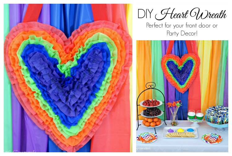 Super FUN Valentine Door Decoration ~ A Heart Shaped Wreath that's perfect for Valentine's Day decor or a fun Kids Art Party! // 3 Little Greenwoods