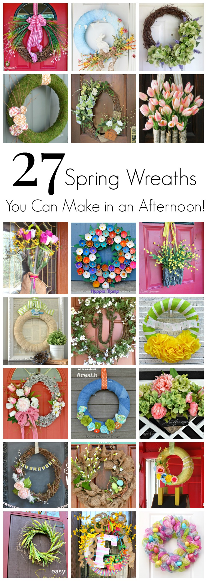 "MUST Pin collection of Easy to Make Wreaths for Spring! Nothing says ""Welcome Spring"" like an easy wreath on your front door! Here is a collection of Easy Spring Wreaths to Make in an afternoon!"