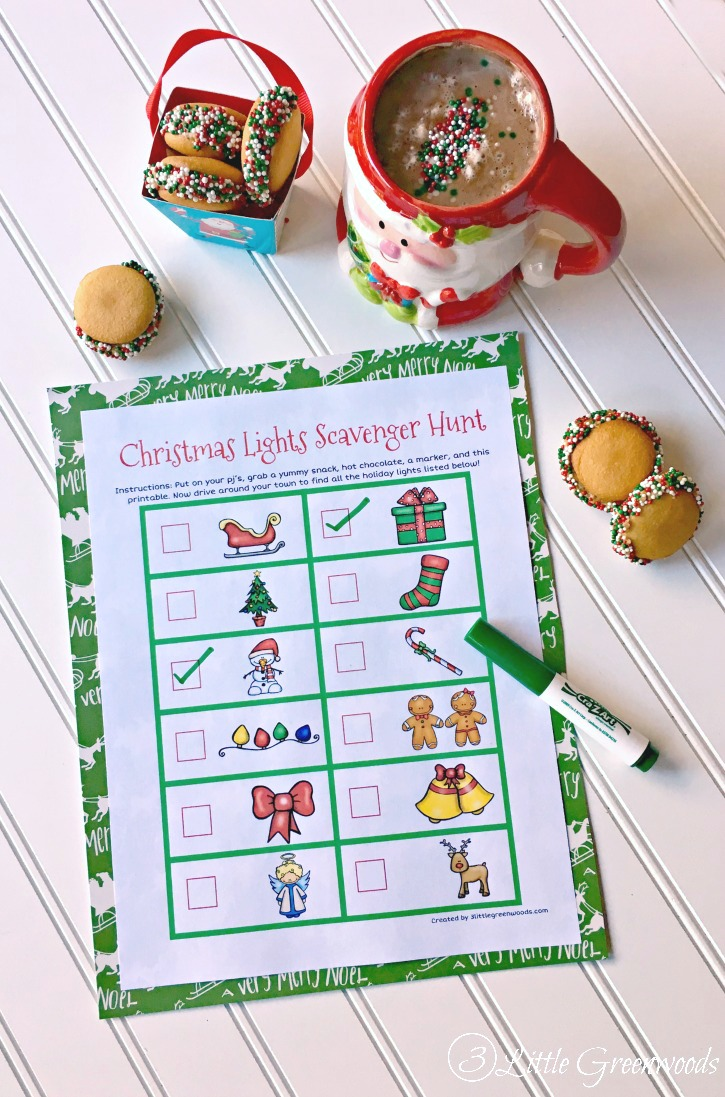 OH I can't wait to do this Christmas Lights Scavenger Hunt with my kiddos! It's a perfect Christmas Countdown Activity! Free Christmas Advent Printable