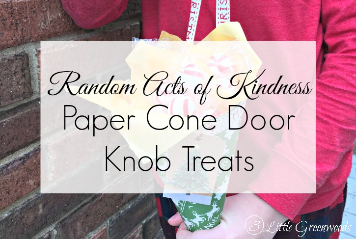 This holiday season we are making our Christmas Countdown Activities more meaningful with simple Random Acts of Kindness. Not only are we taking our grandfather a care package, we will spread the love with easy to make Door Knob Goodies for the other residents of his long term care facility.