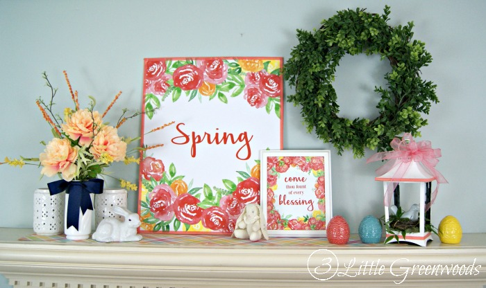 Spring Printable with Coral Peonies