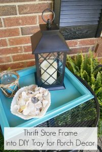 Turn a thrift store frame into a DIY Tray for your front porch! || DIY Wooden Tray
