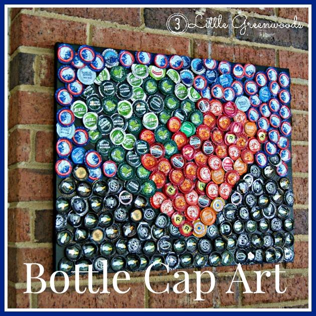 Diy art 3 little greenwoods for Diy bottle cap crafts