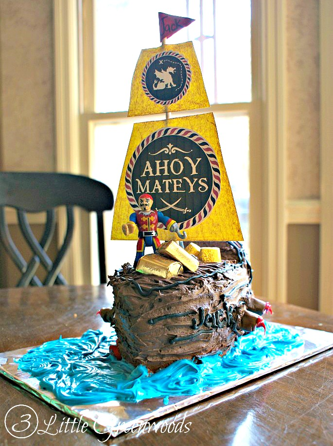Sensational Amazingly Simple Tutorial For How To Make A Pirate Ship Cake Birthday Cards Printable Riciscafe Filternl