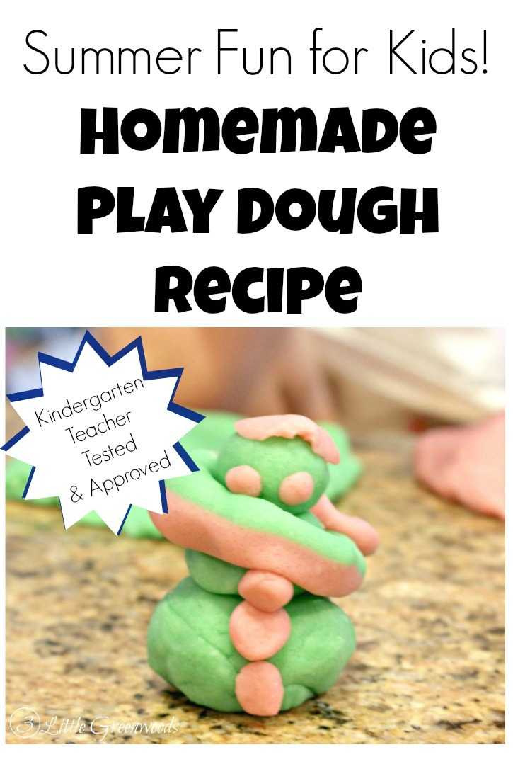 Fun Summer Activities for Kids: Make this Simple Play Dough Recipe by 3 Little Greenwoods to keep your children busy during the long days of summer!