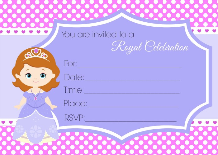 Sofia The First Birthday Party Invites
