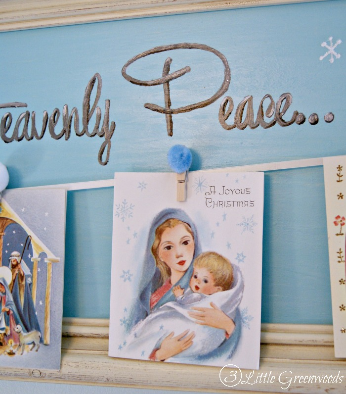 DIY Christmas Card Display ~ handpainted tutorial https://www.3littlegreenwoods.com