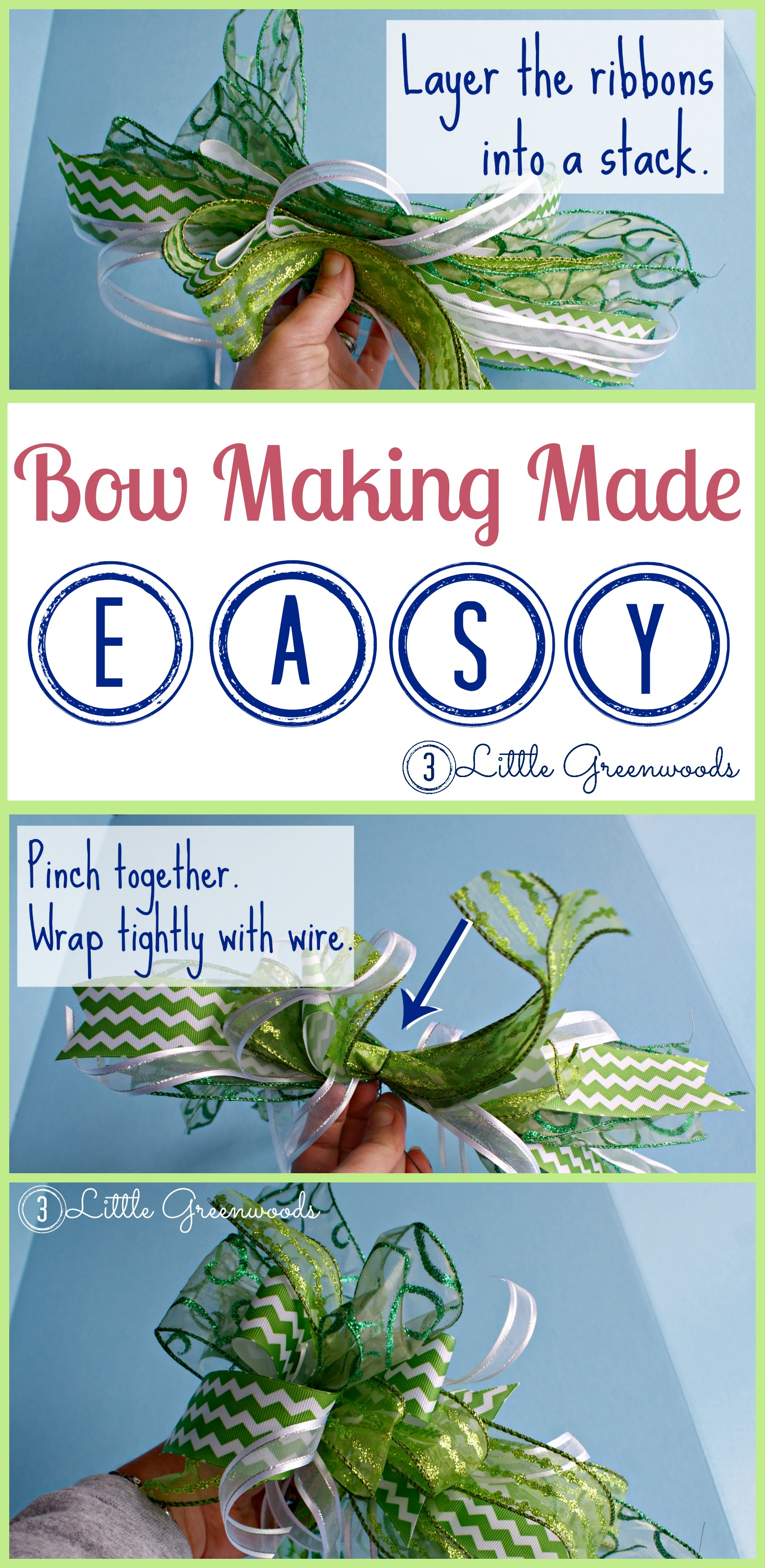 Easiest Bow EVER! Simple to follow tutorial for How to Make an Easy Bow! It is the perfect bow for wreaths, a Christmas tree bow and holiday decorating ideas.